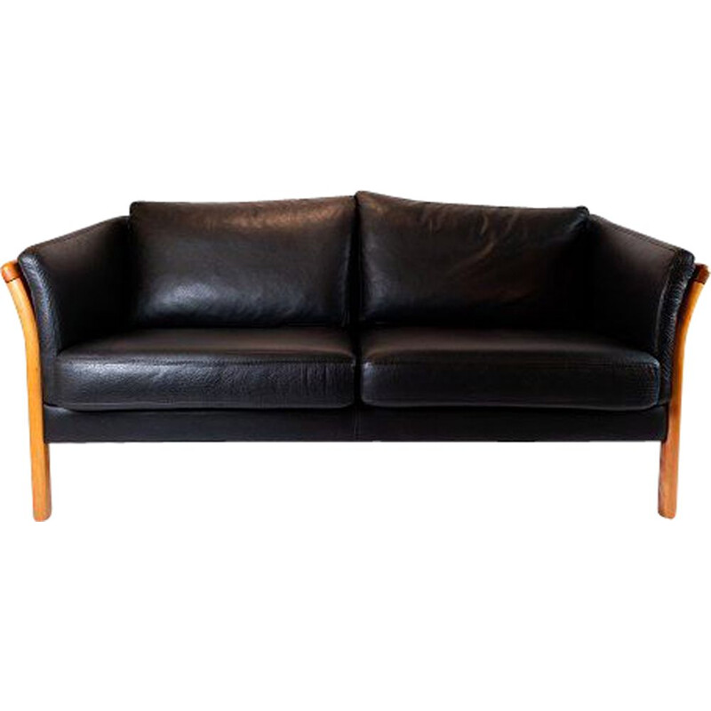 Vintage 2-seater sofa upholstered in black leather, Denmark 2002