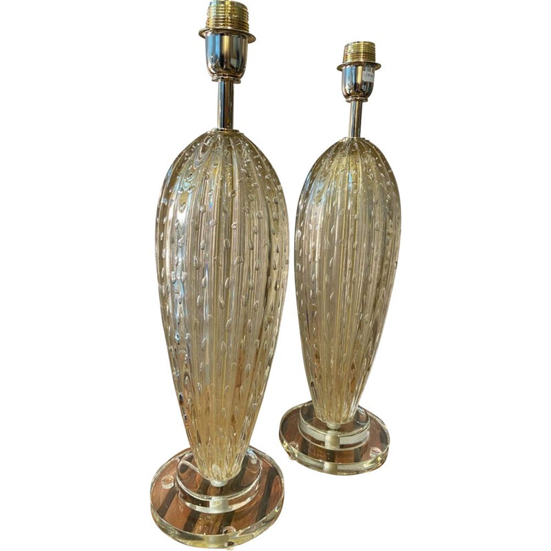 Pair of vintage Toso lamp in Murano glass 1980