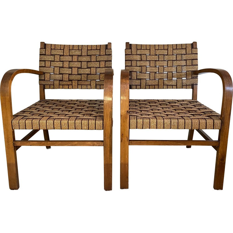 Pair of vintage beech breeze armchairs and 1950's rope