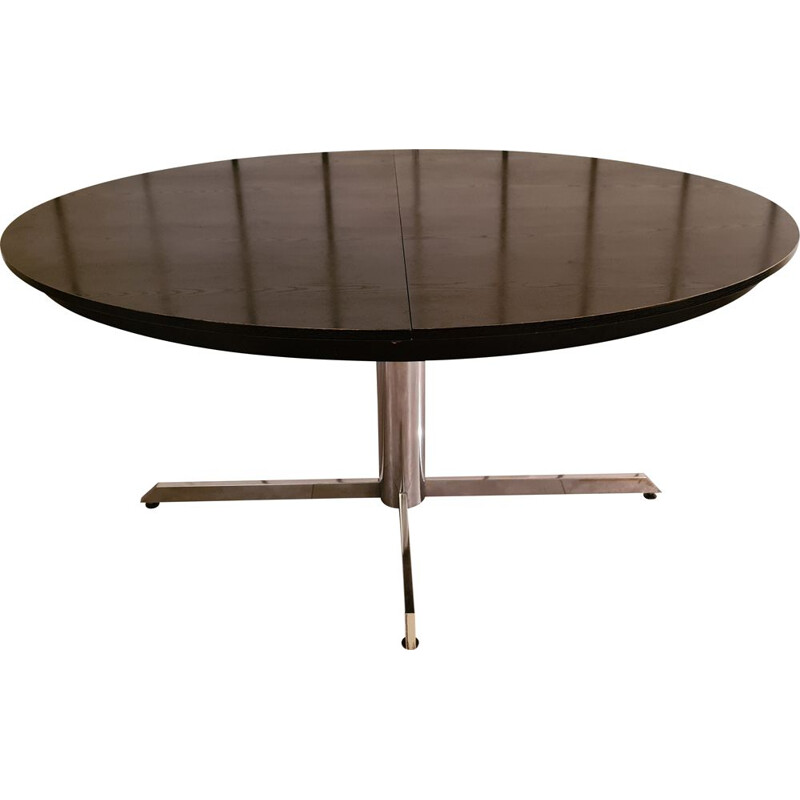 Vintage dining table in blackened wood and chrome base