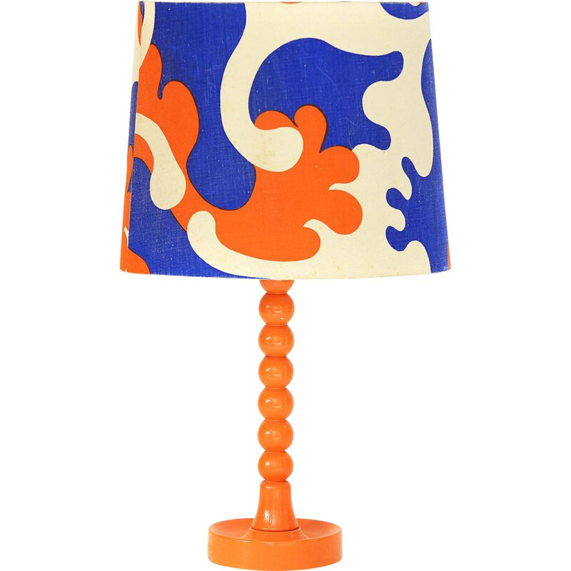 Vintage table lamp with wooden base and linen lampshade, Sweden 1960