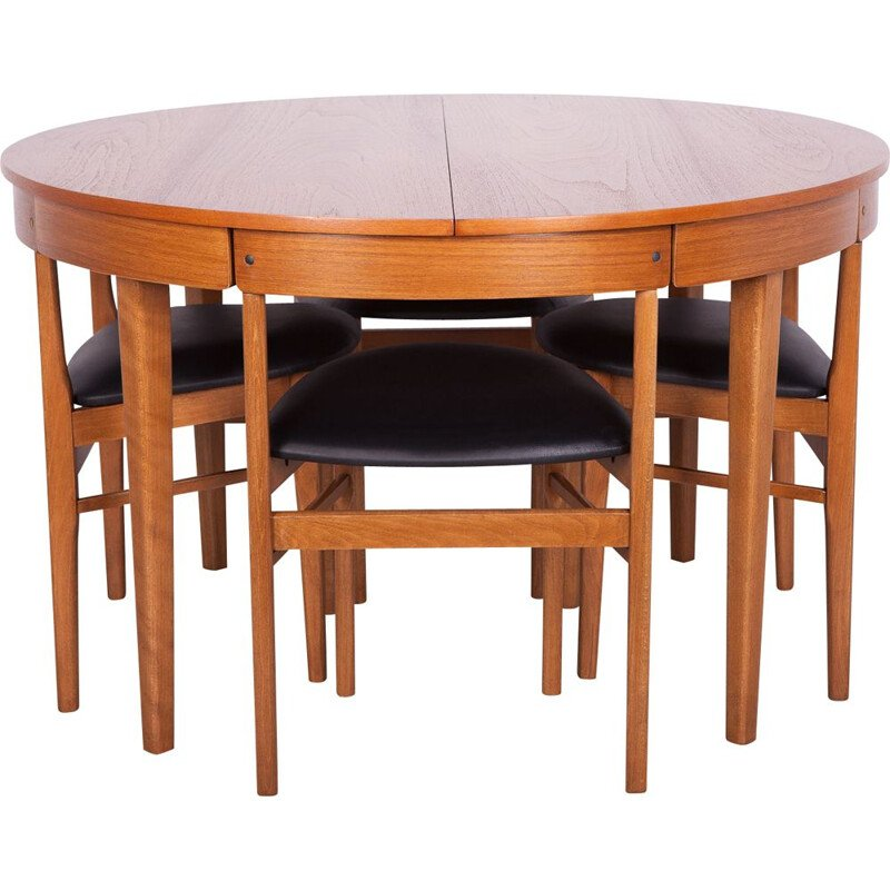 Vintage dining set consisting of an extensible table and 4 teak chairs, McIntosh 1960