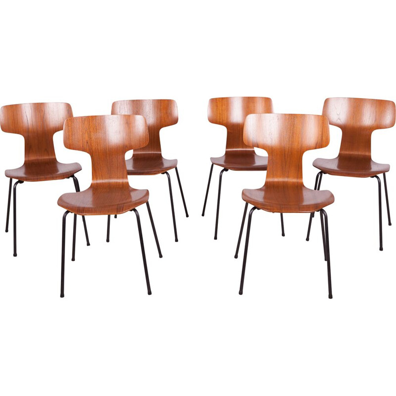 Set of 6 vintage chairs, model 3103, by Arne Jacobsen for Fritz Hansen, 1970