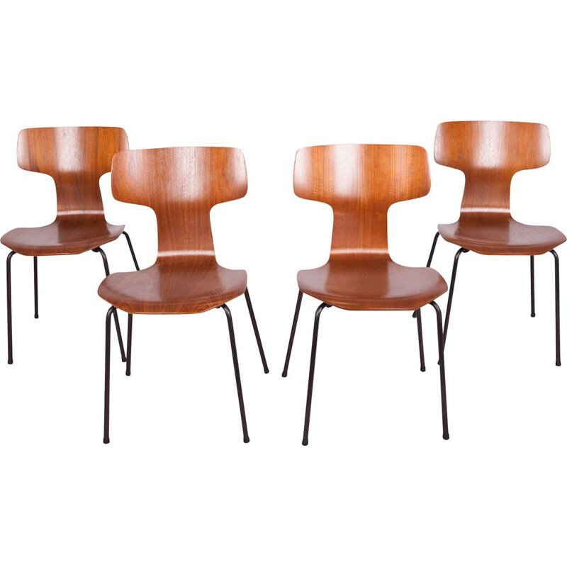 Set of 4 vintage chairs model 3103 by Arne Jacobsen for Fritz Hansen, 1970
