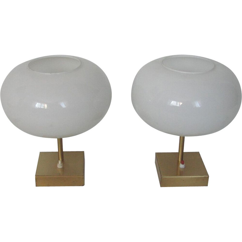 Pair of spheric table lamps 1970
