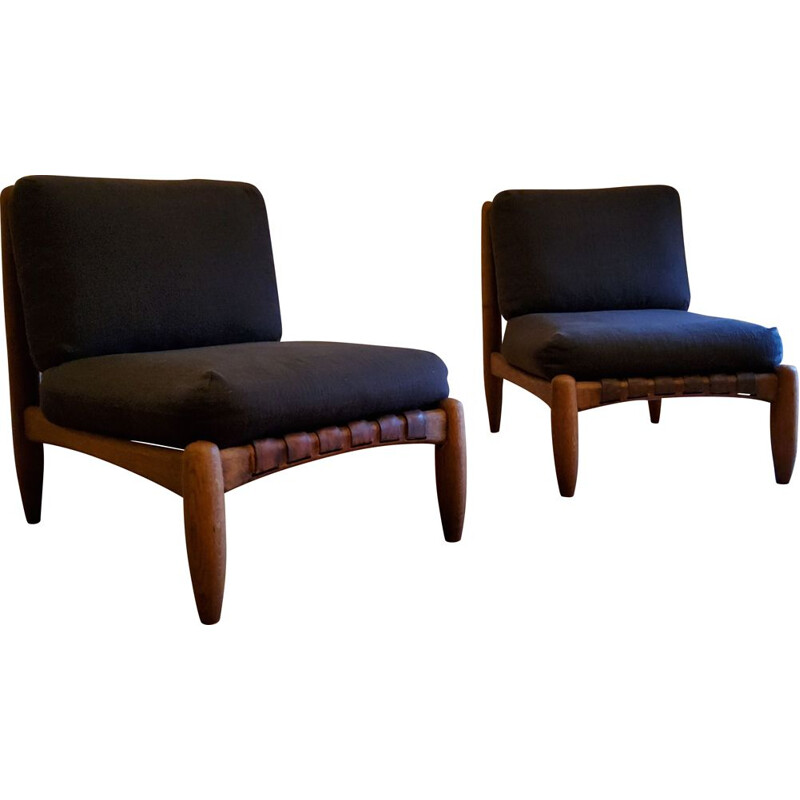 Pair of vintage brutalist armchairs with leather straps