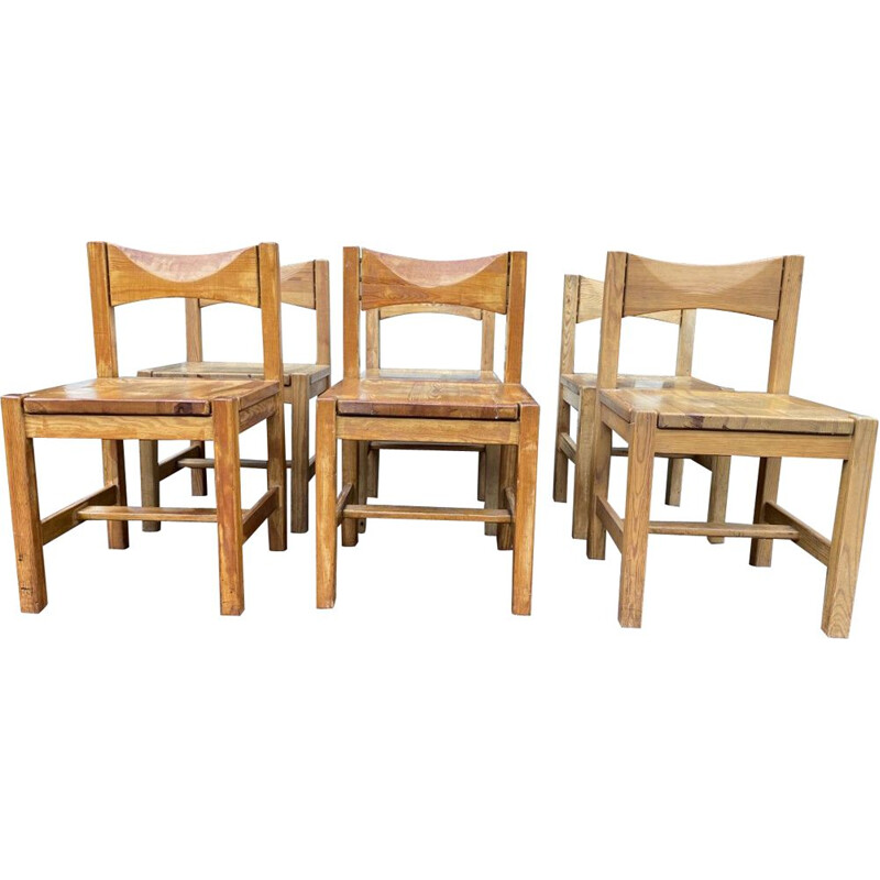 Suite of vintage 6 chairs and a bench Ilmari Tapiovaara 1960s