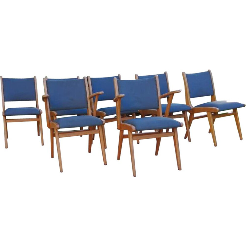 Lot of 7 vintage blue chairs 1960