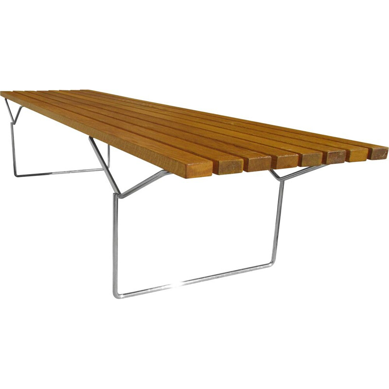 Vintage wooden bench by Harry Bertoia for Knoll International