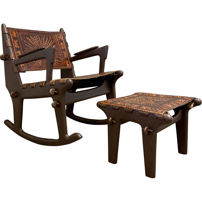 Rocking chair and vintage ottoman in leather and wood, Angel Pazmino 1950
