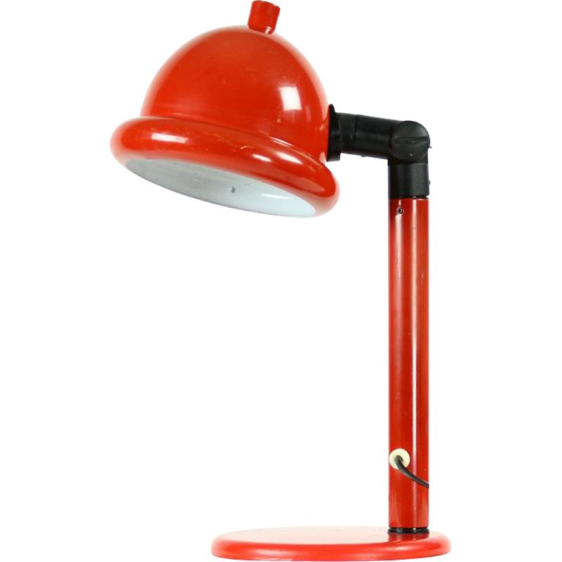 Midcentury Red Metal Table Lamp, Czechoslovakia 1960s