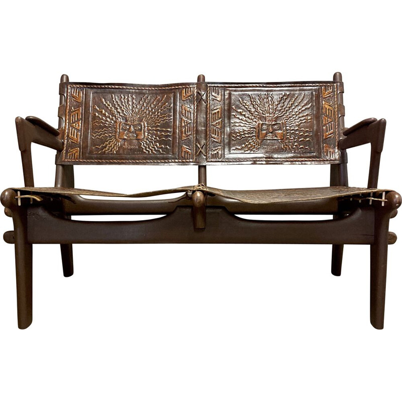 Vintage leather and wood Angel Pazmino 1950 bench seat