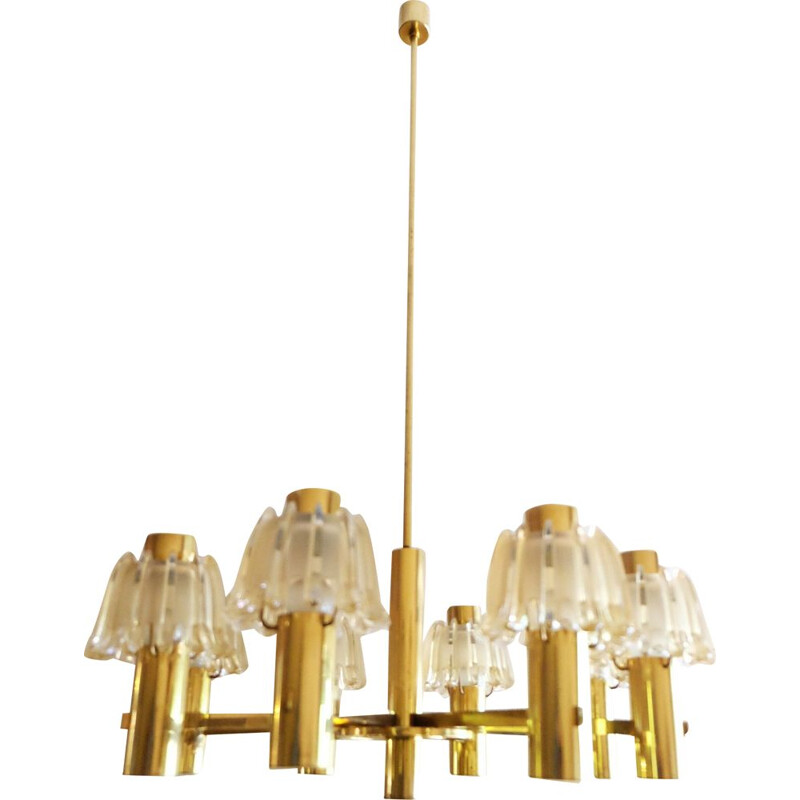 Large Vintage Chandelier Doria Brass and Frosted Glass 1960s