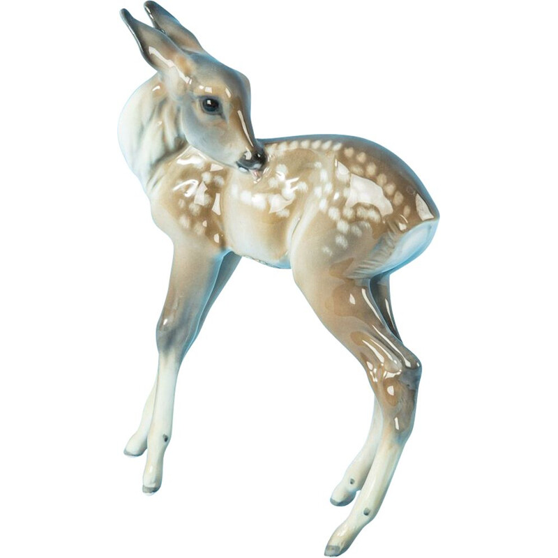 Vintage Porcelain figure Charming fawn Rosenthal Germany 1950s