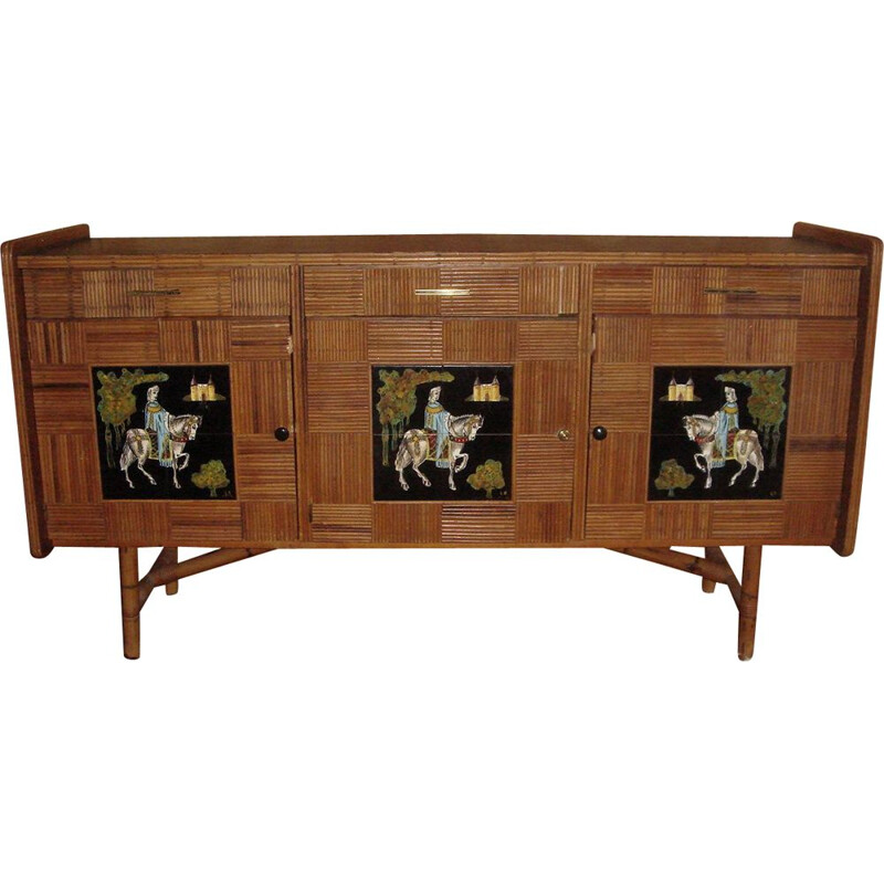 Vintage sideboard rattan and wood Audoux & Minnet 1950