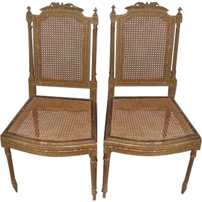 Pair of louis XVI cane rattan & wood vintage chairs