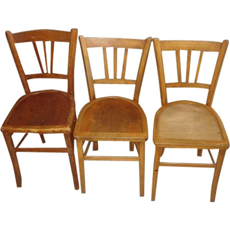 Set of 3 vintage wooden bistro chairs Lutherna 1930