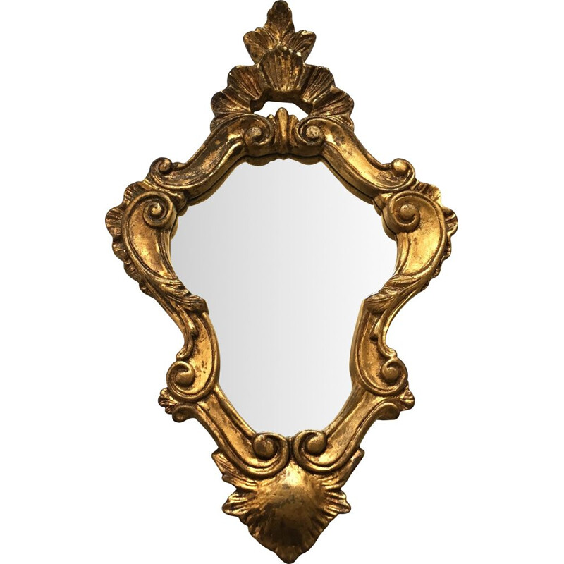 Vintage mirror in wood and gilded stucco 1950