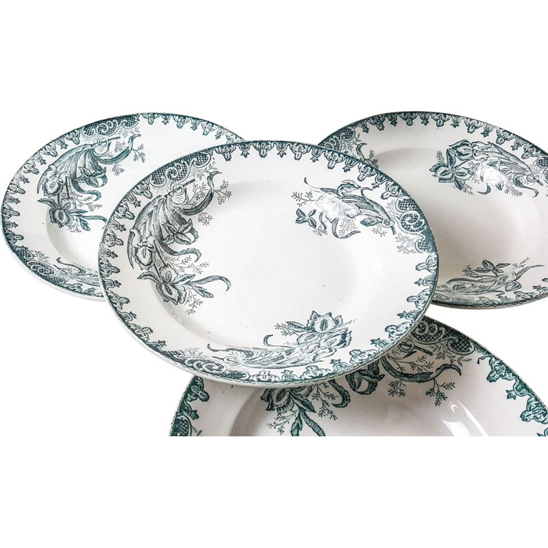 Set of 6 Vintage soup plates model 'IRIS' St Amandinoise  1980s