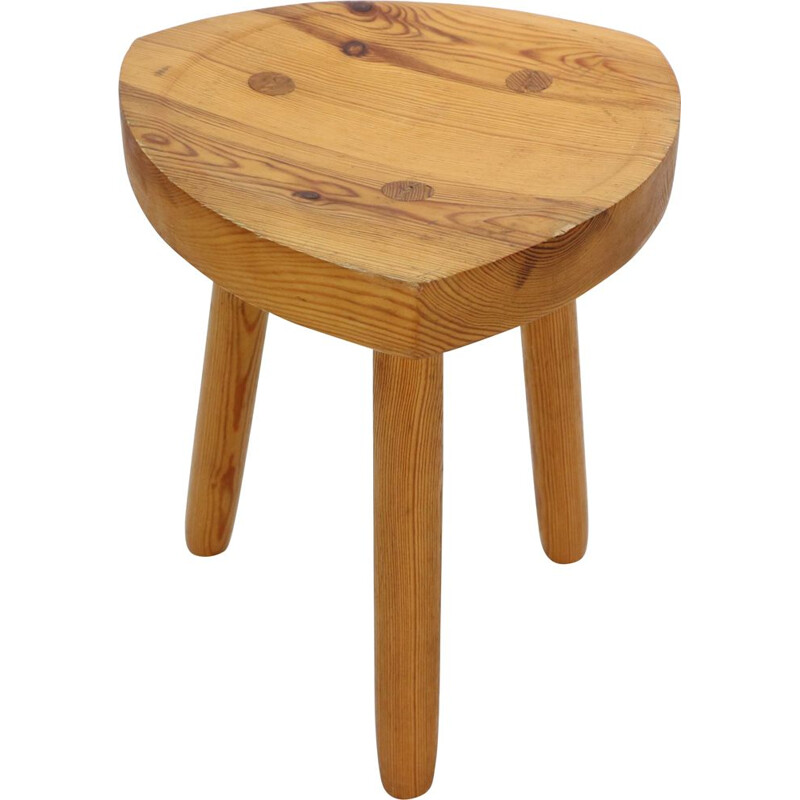 Vintage Crafted Tripod Stool in Pinewood Swedish 1970s