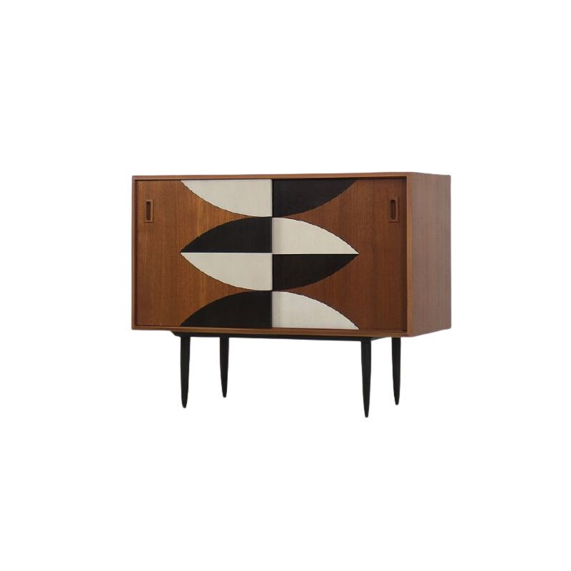 Vintage Teak Cabinet with Hand-Painted Pattern 1960s