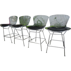 Set of 4 Knoll stools in chrome steel and leatherette, Harry BERTOIA - 1980s