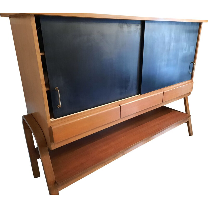 Vintage cabinet with 2 sliding doors