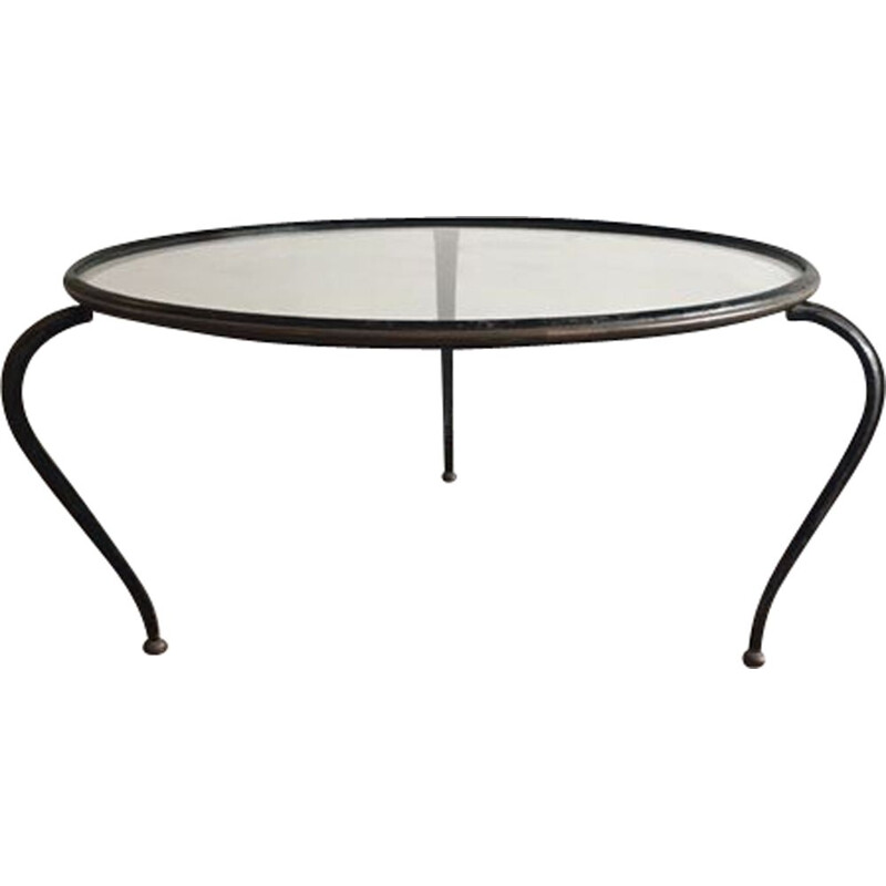 Vintage Coffee table brass and painted steel 1950s