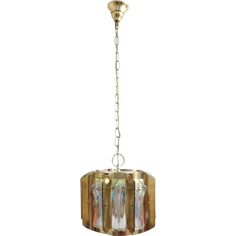 Vintage Brass ceiling lamp and iridescent crystals