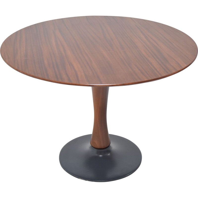 Vintage Beech Round Dining Table 1970s