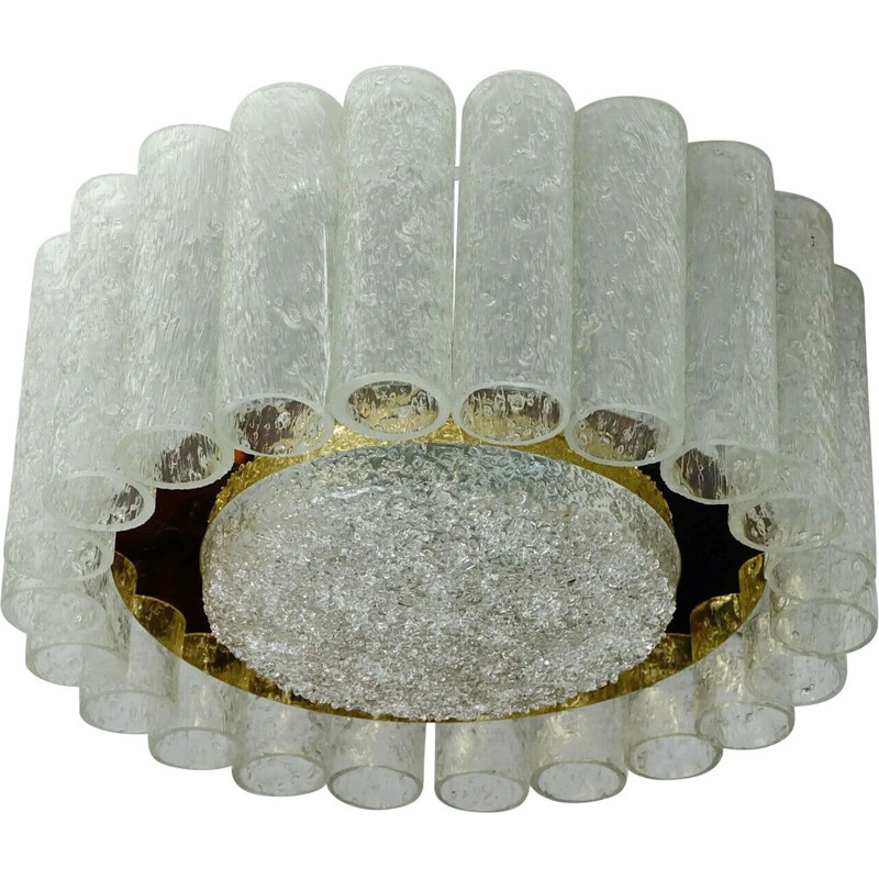 Vintage celing light with 22 glass tubes 1960s