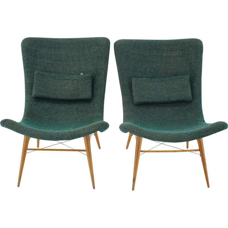 Pair of vintage Miroslav Navratil Shell Lounge Chairs Czechoslovakia 1960s