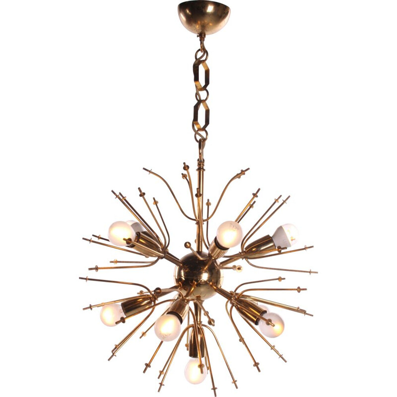 Vintage Sputnik Design hanging lamp with smoked glass 1960s