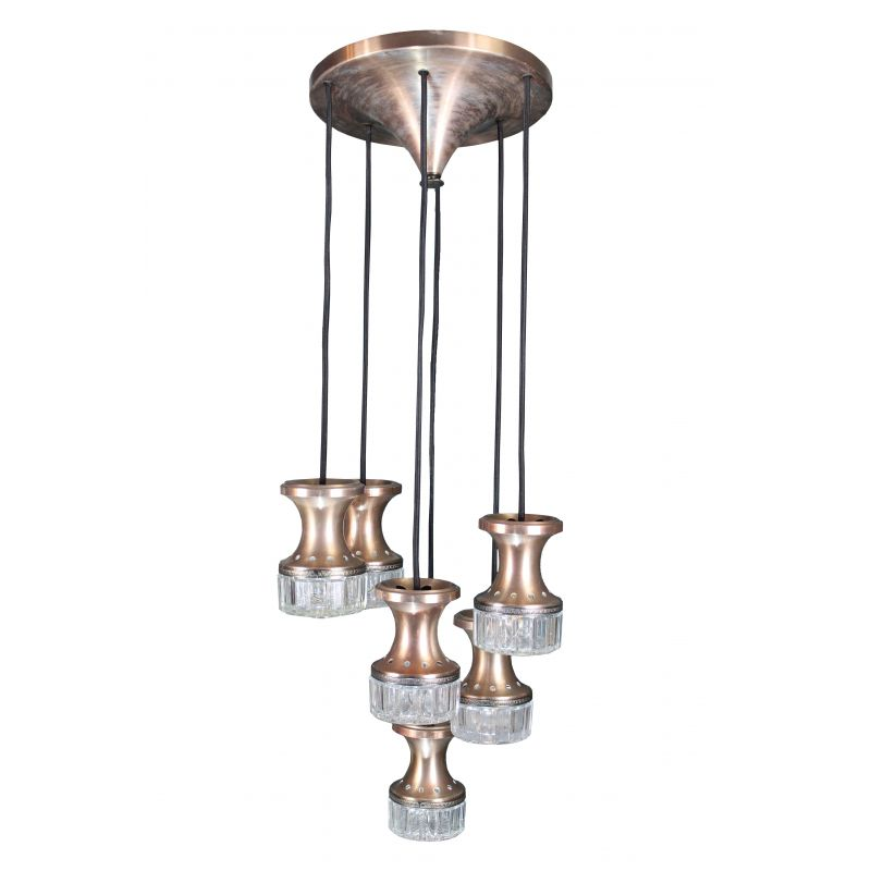 Vintage Cascade chandelier with 6 light points Italy 1970s