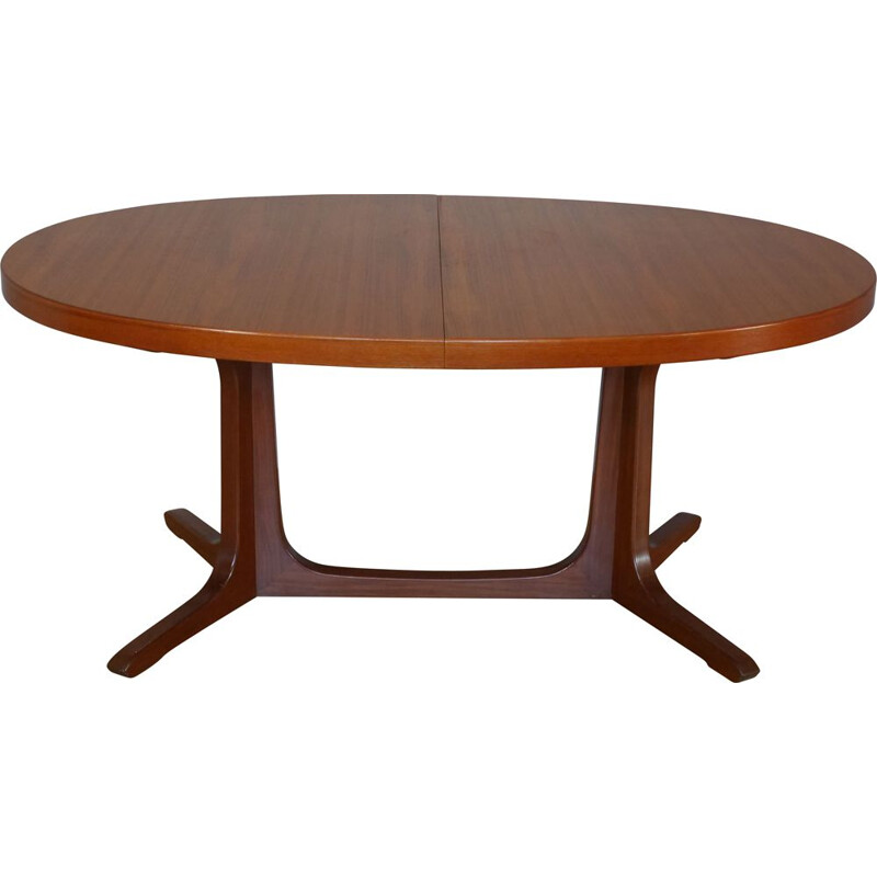 Vintage oval teak dining table with 2 extensions 1960