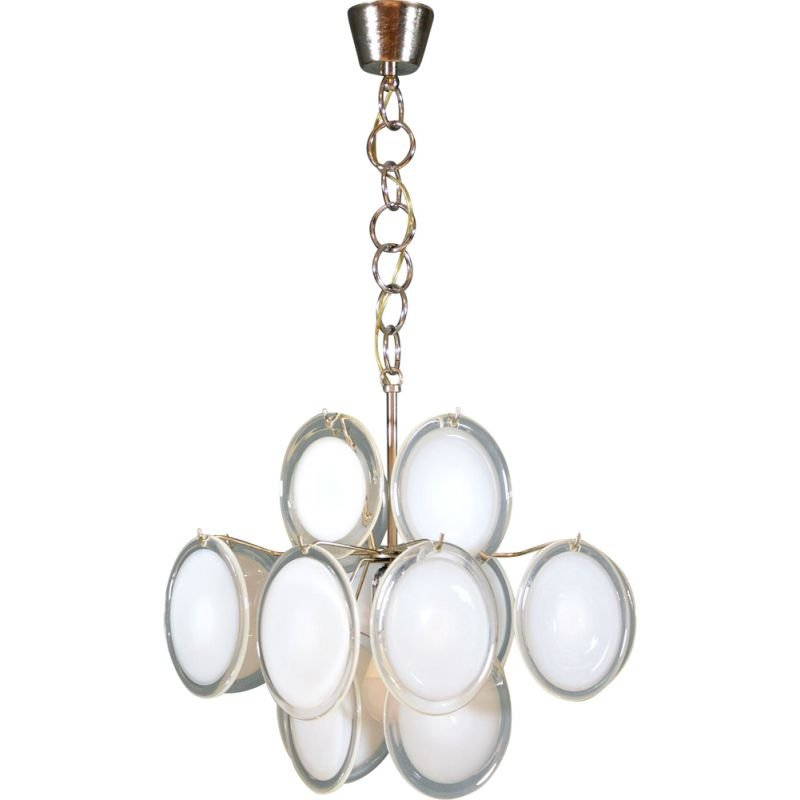 Vintage chandelier with Murano glass disc by Vistosi 1960