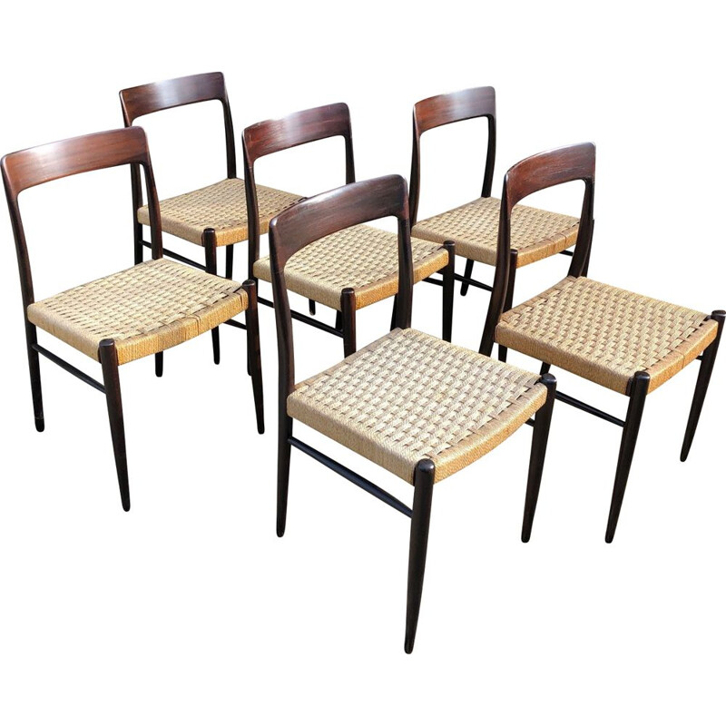 Set of 6 vintage Niels O Møller chairs by JL Møller 1960