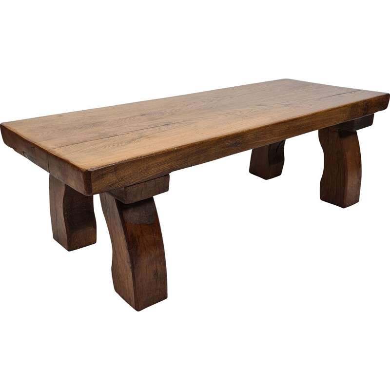 Vintage rectangular solid oak coffee table, rustic and sturdy with curved legs 1970