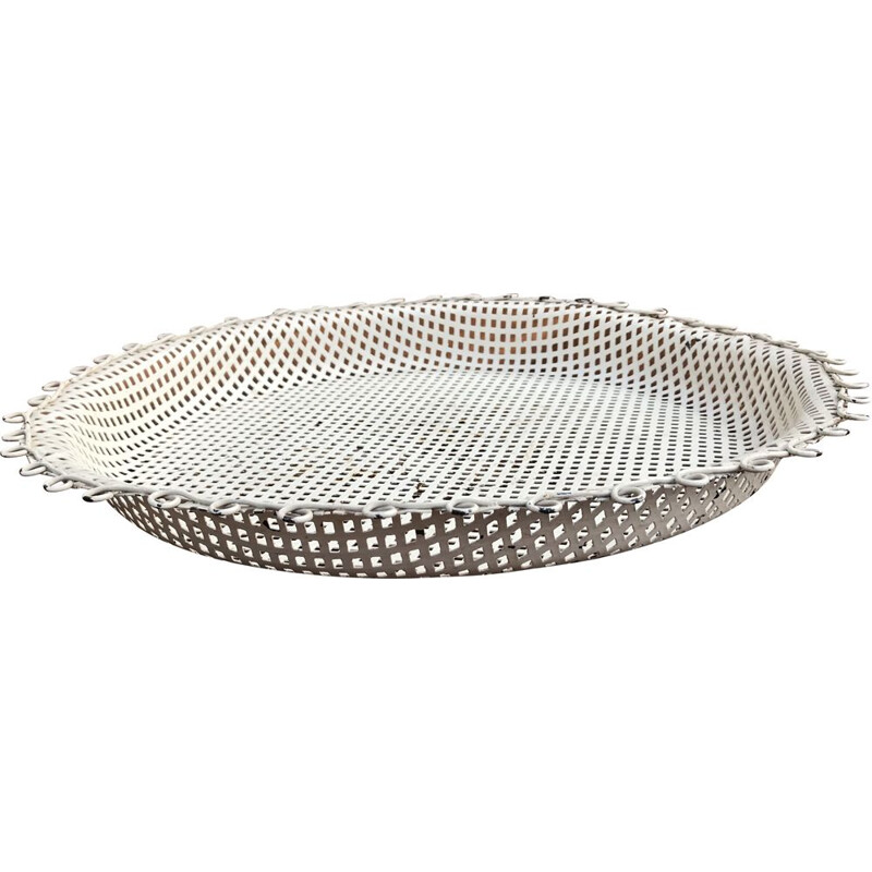 Vintage white perforated metal tray, 1950