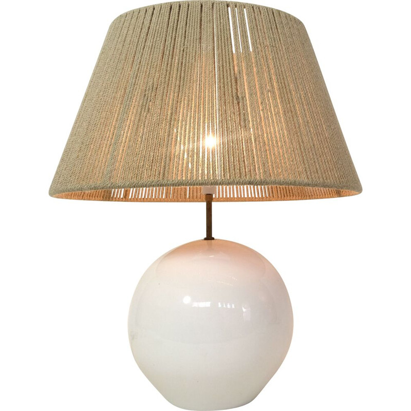 Large vintage ceramic and rope lamp 1960s