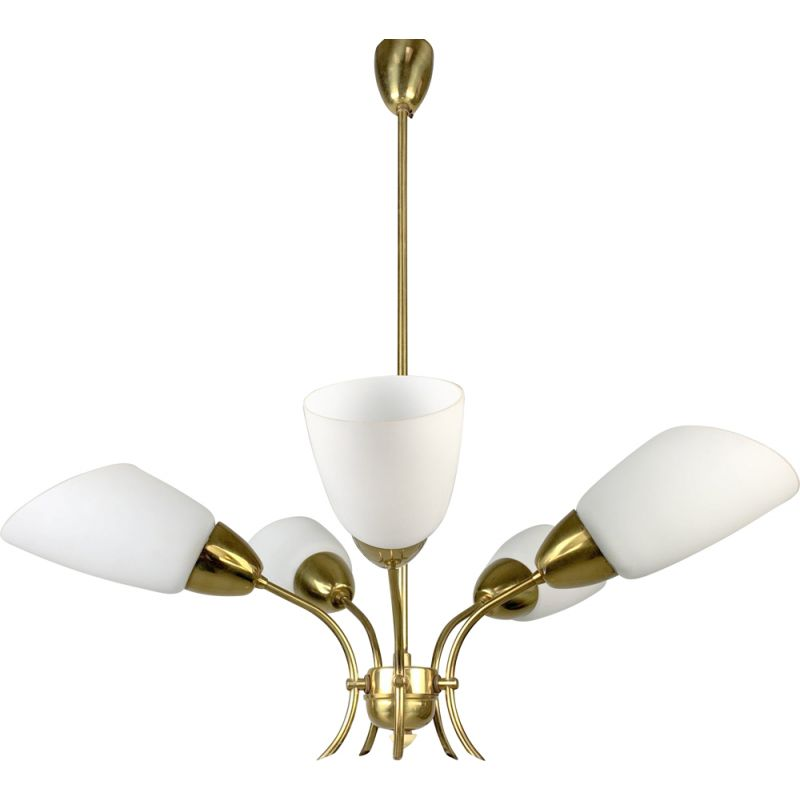 Vintage Brass and White Glass Chandelier 1980s