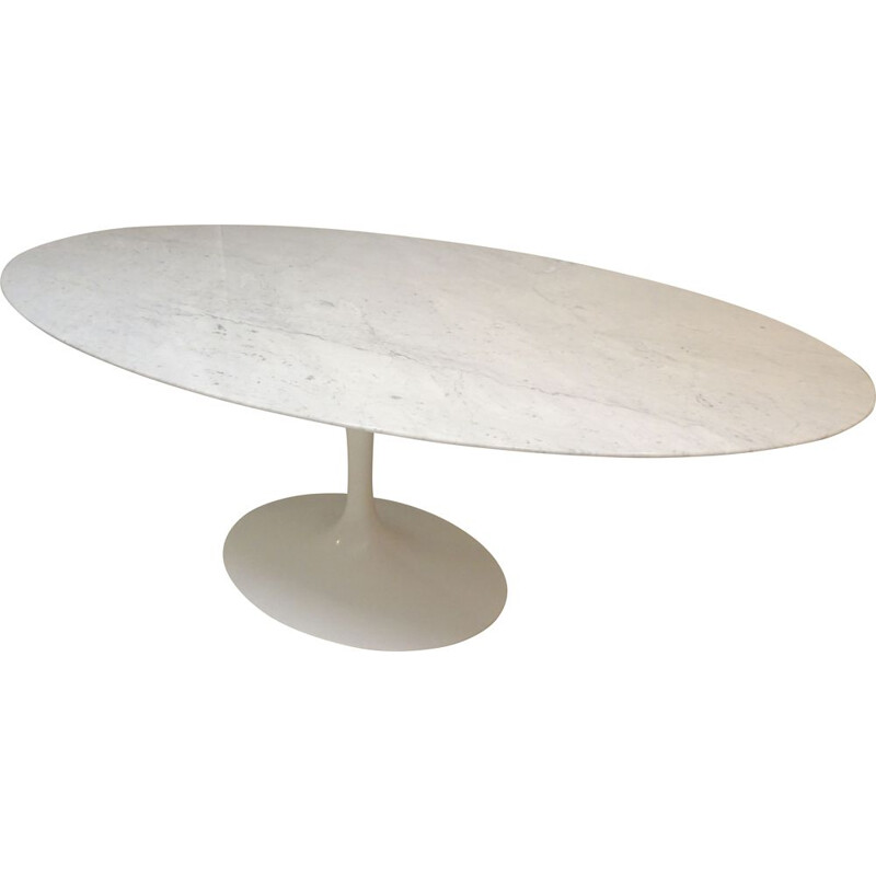 Vintage oval Saarinen table 198cm in marble for Knoll