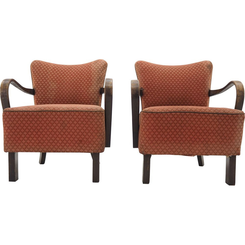 Pair of vintage Armchairs by Jindrich Halabala, Art Deco 1930s