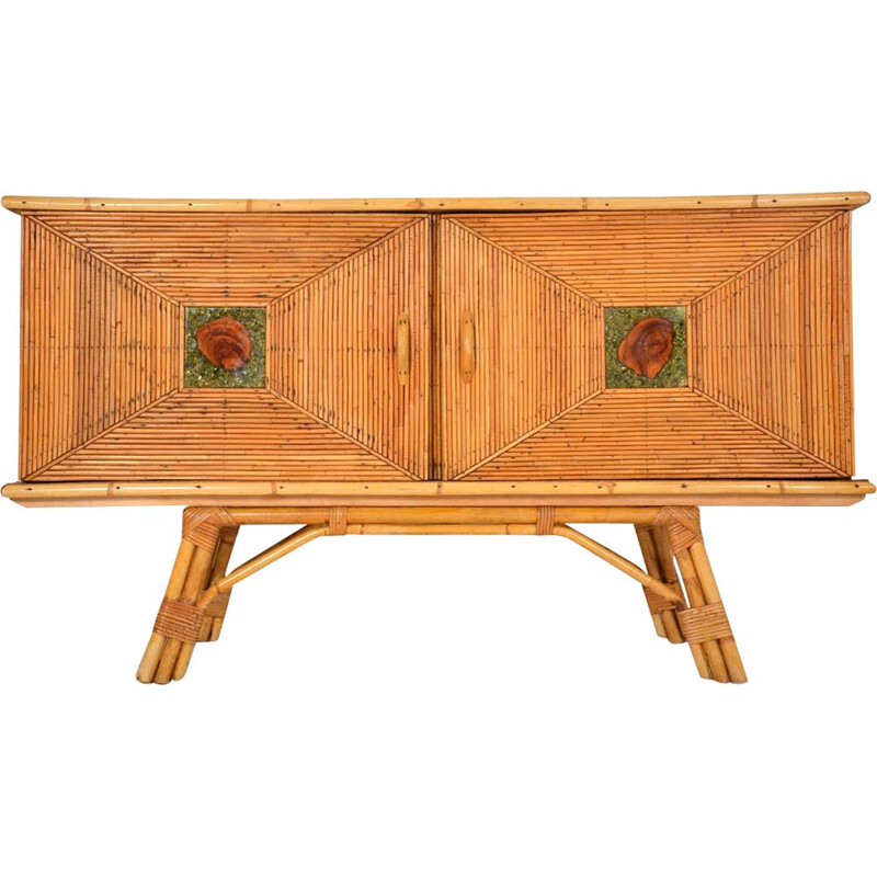 Vintage highboard in wood and rattan marrow 1950
