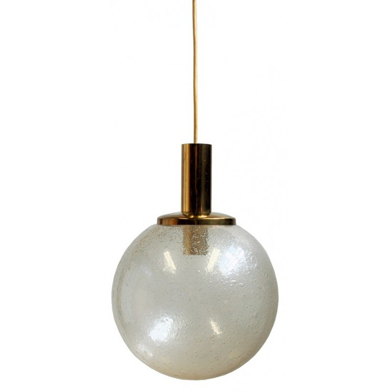 Large Globe Pendant Lamp In Gl And Br 1960s