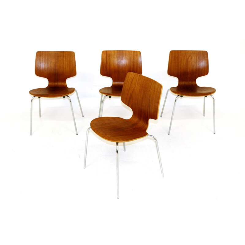 Set of 4 vintage teak and metal chairs Denmark 1950s