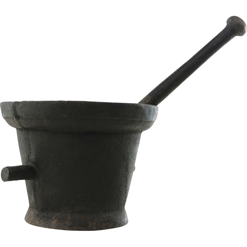 Vintage Cast Iron Large Pestle and Mortar