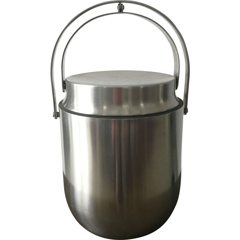 Vintage Stainless steel ice-bucket by Carlo Mazzeri for Alessi 1990s
