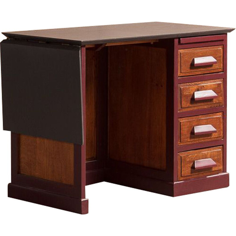 Vintage school desk for children with side flap in solid wood and valchromat 1950s