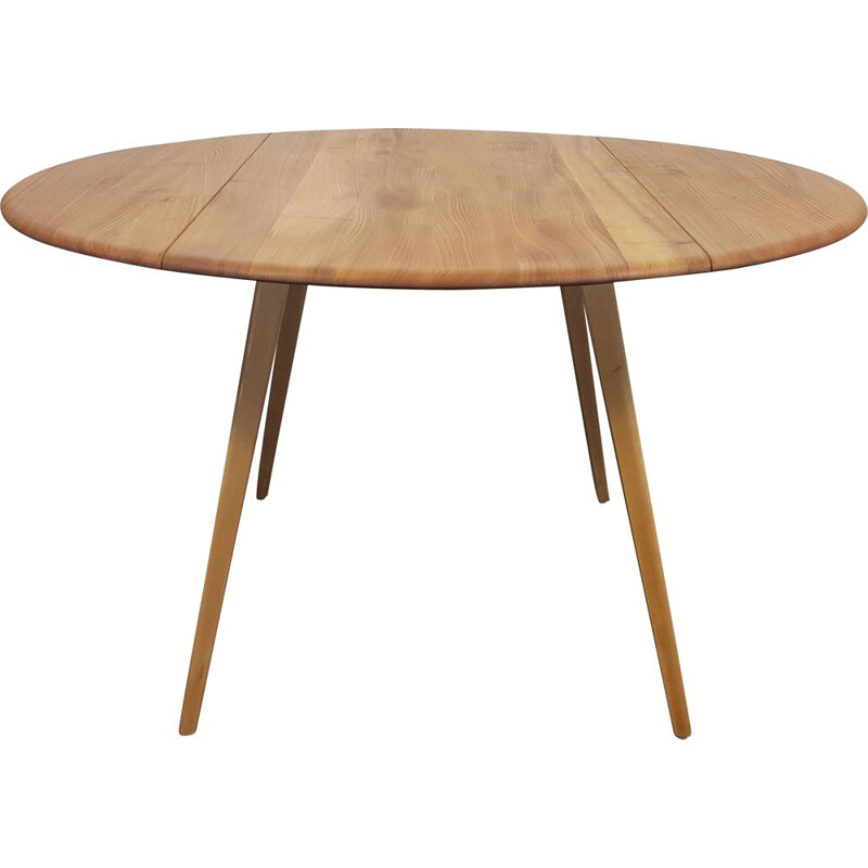 Vintage Ercol Round Drop Leaf Dining Table 1960s